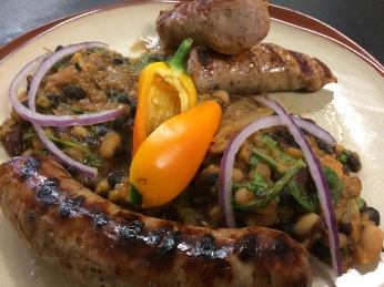 Grilled Fresh Sausage with Baked Beans